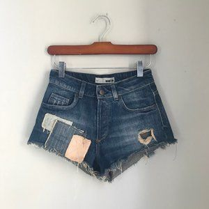 Distressed Patchwork Jean Shorts